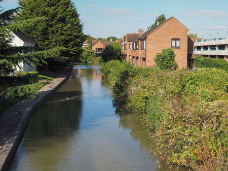 birthplace: STRATFORD UPON AVON, UK - SEPTEMBER 26, 2015: A canal in the city of Stratford birthplace of Shakespeare