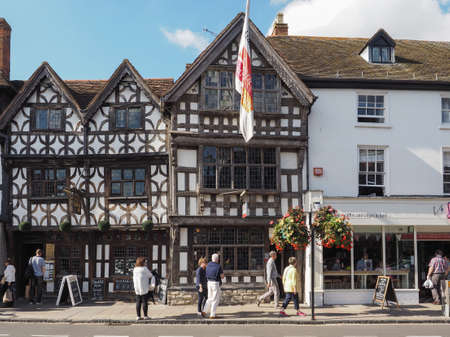 during: STRATFORD UPON AVON, UK - SEPTEMBER 26, 2015: Harvard House is the most elaborately decorated Elizabethan house build during Shakespeare lifetime