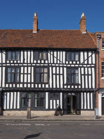 tudor: STRATFORD UPON AVON, UK - SEPTEMBER 26, 2015: Oak bar public house in ancient Tudor building Editorial