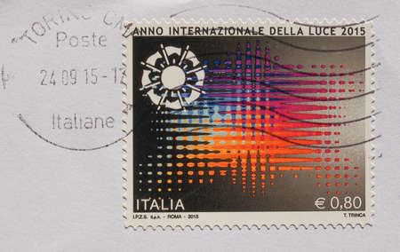 luce: TURIN, ITALY - CIRCA OCTOBER 2015: A stamp printed by Italy celebrates the Anno internazionale della luce meaning International year of light