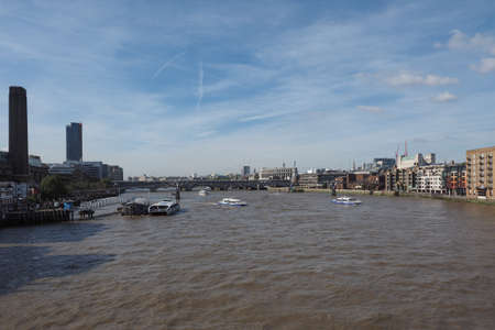 river thames: LONDON, UK - SEPTEMBER 29, 2015: Panoramic view of River Thames