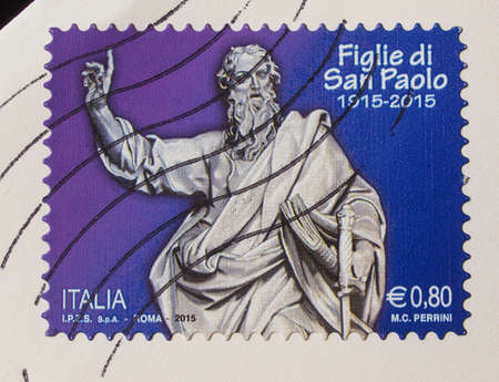 nuns: ROME, ITALY - OCTOBER 22, 2015: A stamp printed by Italy shows St Paul and is dedicated to the centenary of Figlie di San Paolo meaning St Paul Nuns aka Paoline Nuns