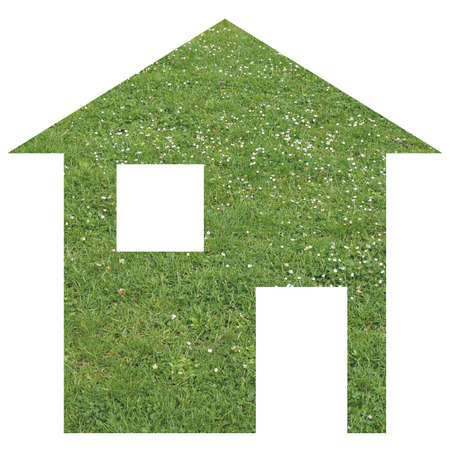 relocate: Green grass house 2d model illustration isolated over white