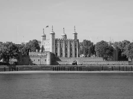 dungeons: The Tower of London seen from River Thames in London, UK in black and white