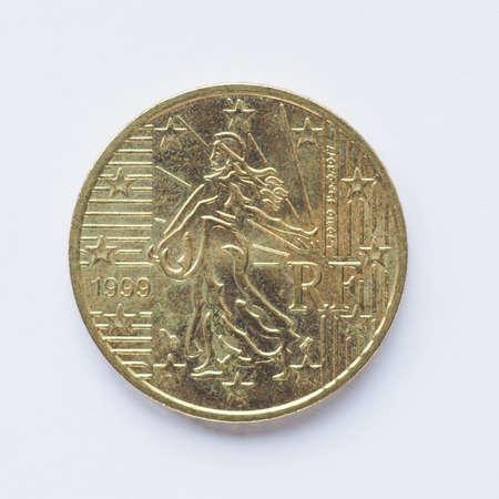 Währung Europas 2 Euro Münze Aus Frankreich Jahrgang Lizenzfreie