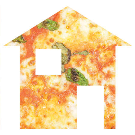 relocate: Pizza house 2d model illustration isolated over white