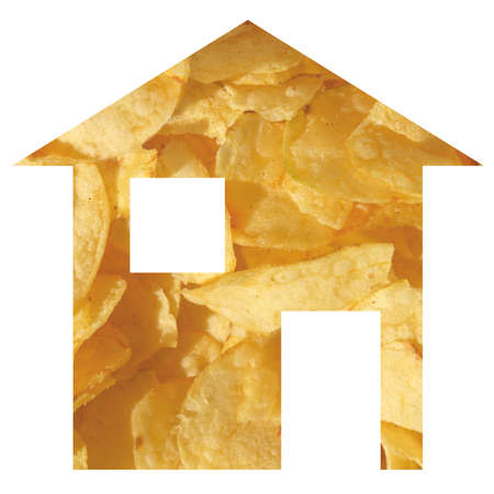 moving site: Crisps house 2d model illustration isolated over white Stock Photo