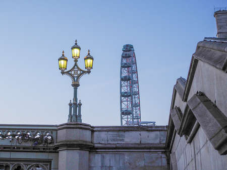 millennium wheel: LONDON, UK - JUNE 10, 2015: The London Eye ferris wheel on the South Bank of River Thames aka Millennium Wheel at night Editorial