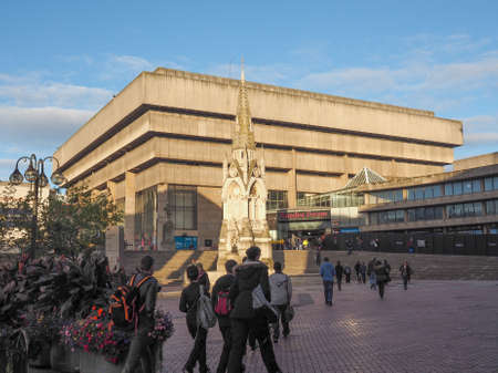 masterpiece: BIRMINGHAM, UK - SEPTEMBER 25, 2015: Birmingham Central Library iconic masterpiece of New Brutalism designed by John Madin in 1974 is now threated of demolition