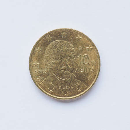 gr: Currency of Europe 10 cent coin from Greece Stock Photo