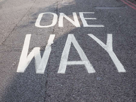 one way sign: One way sign in the street Stock Photo