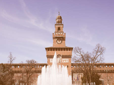 sforzesco: Vintage looking Castello Sforzesco meaning Sforza Castle in Milan Italy Stock Photo