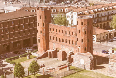 palatine: Vintage looking Aerial view of Palatine towers aka Porte Palatine, ruins of ancient roman town gates in Turin