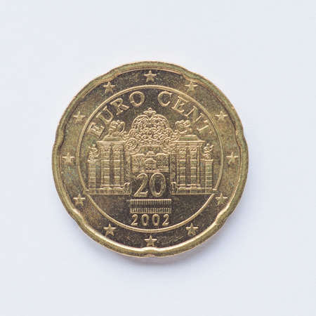 cent: Currency of Europe 20 cent coin from Austria