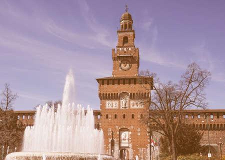 castello: Vintage looking Castello Sforzesco meaning Sforza Castle in Milan Italy Editorial