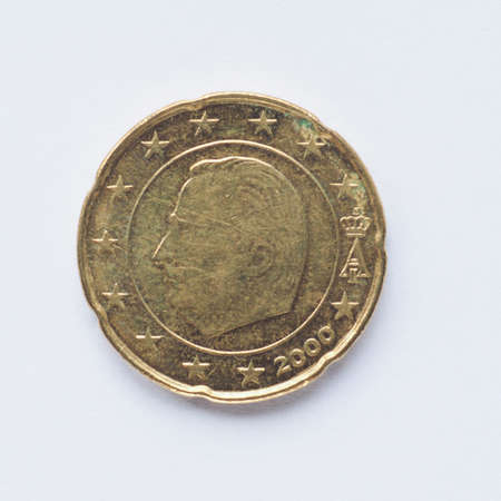 belgie: Currency of Europe 20 cent coin from Belgium