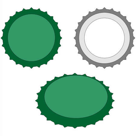 at the bottom of: Illustration of beer caps over white, top bottom and perspective