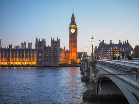 bigben: Houses of Parliament aka Westminster Palace at night in London, UK Stock Photo