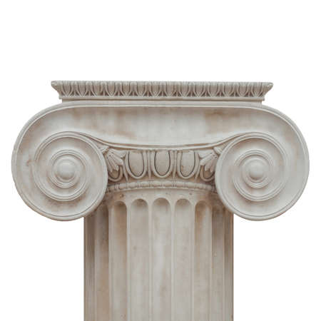 ionic: Capital of the ancient Greek Ionic order isolated over white background