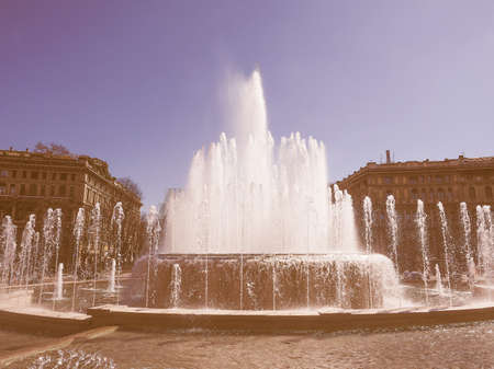 sforzesco: Vintage looking Fountain in front of Castello Sforzesco in Milan Stock Photo