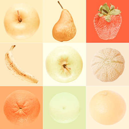 granny smith apple: Vintage looking Fruits collage including apple pear strawberry banana melon orange lime lemon over colour background Stock Photo