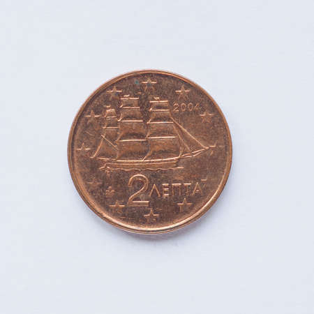 gr: Currency of Europe 2 cent coin from Greece Stock Photo