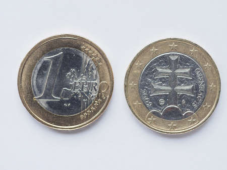 1 euro: Currency of Europe 1 Euro coin from Slovakia