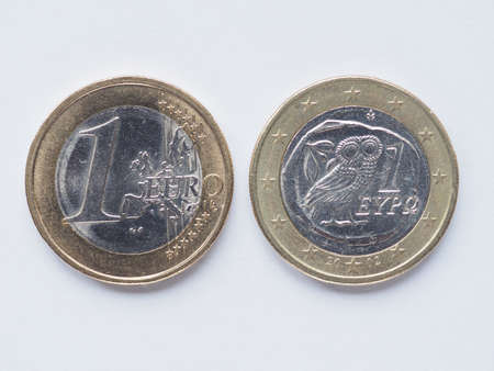 gr: Currency of Europe 1 Euro coin from Greece