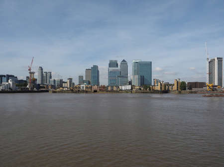 business centre: The Canary Wharf business centre in London, UK seen from Greenwich