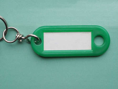 keyring: Green key ring with blank paper label with copy space