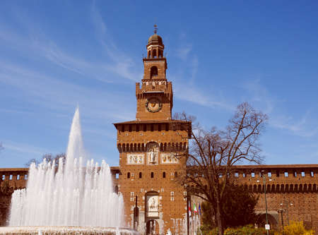 sforzesco: Vintage looking Castello Sforzesco meaning Sforza Castle in Milan Italy Editorial