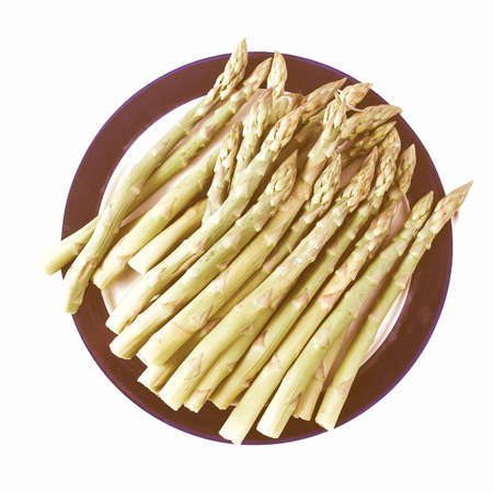 perennial: Vintage looking Asparagus officinalis spring vegetable flowering perennial food Stock Photo