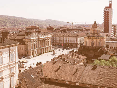 piedmont: Vintage looking Aerial view of the city of Turin in Piedmont Italy Stock Photo