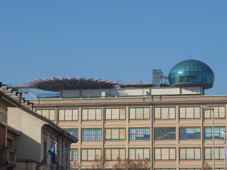 conference centre: TURIN, ITALY - NOVEMBER 07, 2015: Roof meeting room know as La Bolla meaning The Bubble and helipad at Lingotto conference centre designed by Renzo Piano in former Fiat car factory