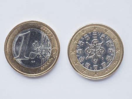 Währung Der Europe 1 Euro Münze Aus Portugal Jahrgang Lizenzfreie