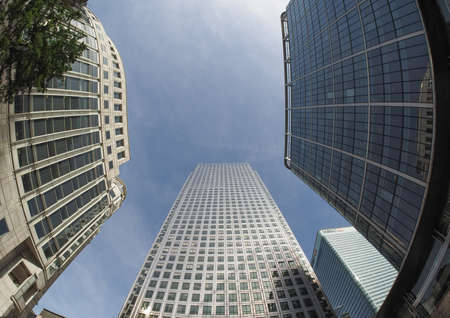 canary wharf: The Canary Wharf business centre in London, UK seen with fisheye
