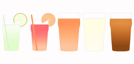 beers: Cocktails and beers illustration including Mojito, Bitter, Lager and Stout