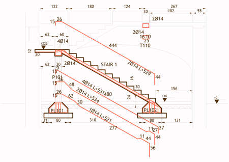 reinforced: Structural drawing for a reinforced concrete structure