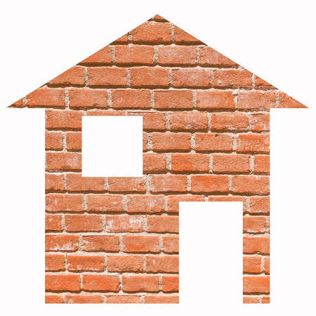 brick house: Red bricks house 2d model illustration isolated over white Stock Photo