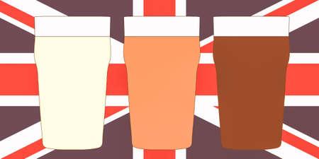 cerveza negra: Tres pintas de cerveza brit�nico incluyendo cerveza, amargo y fuerte en Union Jack Foto de archivo
