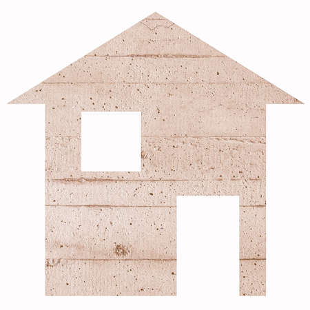 moving site: Concrete house 2d model illustration isolated over white Stock Photo