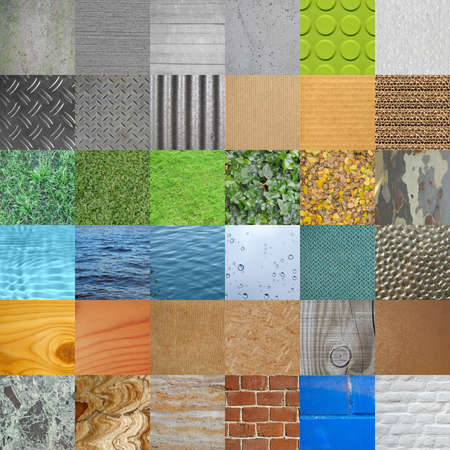 fabric textures: Set of textures useful as background including concrete steel cardboard bricks water grass leaves marble plastics glass wood fabric