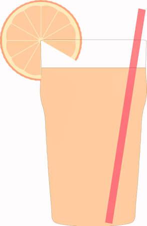 orange slice: Glass of cocktail with orange slice and straw