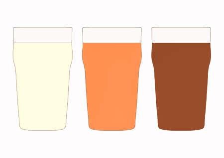 stout: Tres pintas de cerveza británico incluyendo lager, amarga y fuerte