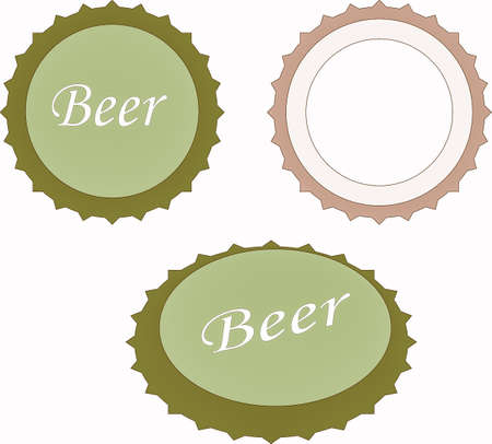 stout: Vector illustration of beer caps over white