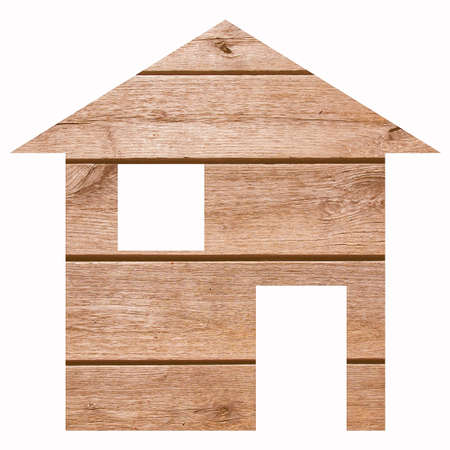 relocation: Wood house 2d model illustration isolated over white