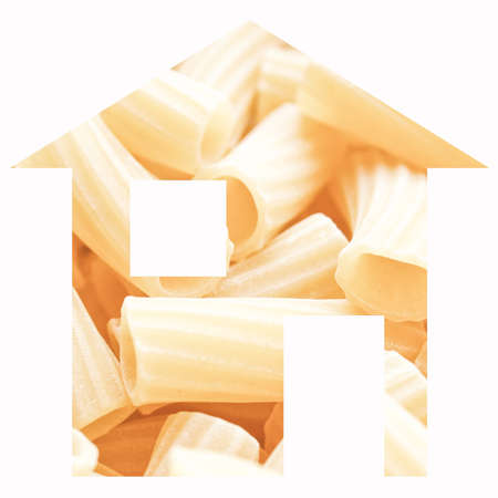 relocate: Macaroni pasta house 2d model illustration isolated over white Stock Photo