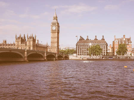 bigben: Vintage looking Houses of Parliament aka Westminster Palace in London, UK Stock Photo