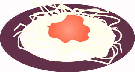 maccheroni: Vector illustration of an Italian spaghetti pasta dish with tomato