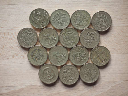 money pound: British Pound coins currency of the United Kingdom